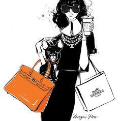 Hermes by Megan Hess Megan Hess Illustration, Illustration Mode, Coffee Illustration, Coffee Cup Art, Coffee Girl, Trendy Fashion, Fashion Art, Love Fashion, Fashion Design