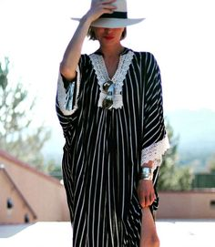 Striped beach coverup