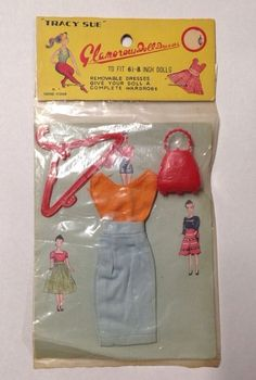 Vintage Tracy Sue Carded Outfit Dress Top Barbie Clone KO Glamorous Doll Red | eBay