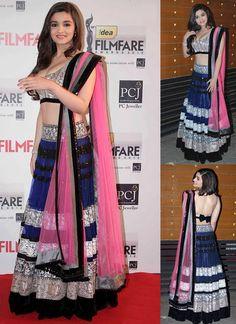 Bollywood Lehenga Replica Collection, Bollywood Actress Parineeti Chopra Brown French crap Anarkali SALWAR KAMEEZ
