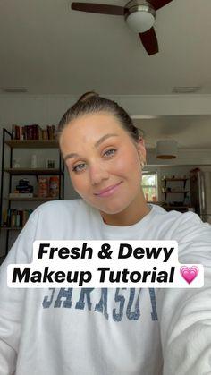 Simple Makeup, Natural Makeup, Dewy Makeup Tutorial, Beauty Makeup, Hair Beauty, Makeup Eyeshadow Palette, Everyday Makeup Tutorials, Cream Blush, Lip Oil