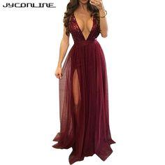 JYConline Deep V Sequin Maxi Dress Long Party Dresses Women Summer Sleeveless Mesh Floor Length Dress Vestidos Club Sexy Dress
