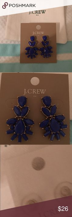 Beautiful Blue J.Crew Statement Drop Earrings New with Tags and dust bag.  Gold trim really pops against the beautiful blue color. J. Crew Factory. J. Crew Jewelry Earrings