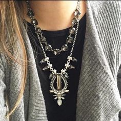 Eclipse Pendant Necklace love the chic stunning mix of smoky, clear, and opalescent stones. Beautifully layered with the Somervell Necklace. #shop #stelladot #musthave www.stelladot.com/mayraduran