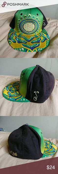 Grassroots California Artist Series Fitted hat Grassroots California Michael Garfield Artist Series fitted hat. Size 7 1/4 Made with hemp textiles. Silk lining. Embroidered brim and front. Amazing detail! Stash pocket. Only 420 made! This hat has been worn and loved. There is a small stain on the front that I tried to show in the photos. The back of the hat has some slight sun bleach discoloring.  Great hat! Especially if you're a festival goer or a pin collector! This one is hard to let go…
