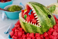 Under the Sea Party Food Ideas ~ Watermelon Shark w/ Gummy Sea Creatures Candy