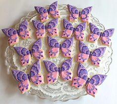 Summer Cookies, Fancy Cookies, Iced Cookies, Easter Cookies, Cupcake Cookies, Purple Cookies, Butterfly Cookies, Butterfly Party, Butterfly Birthday