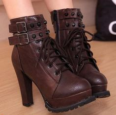 Find More Women's Boots Information about Autumn winter new 2015 women's platform high heels martin boots brand design rivets buckle side zip ankle boots,High Quality Women's Boots from Toptrade Co.,ltd on Aliexpress.com