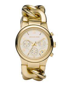 Michael Kors Chain-Link Watch, Shiny Golden