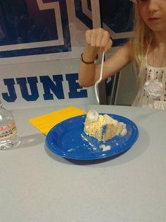 I threw a cap at her cake