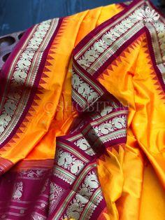 Turmeric yellow tone Kanjeevaram Silk Saree with Annapakshi Motifs and – Shobitam Kanjivaram Sarees, Silk Sarees, Color Correction, Very Well, Turmeric, Color Combinations, Temple, Hand Weaving, Elegant