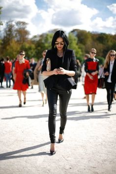 Paris Fashion Week - red and black street style