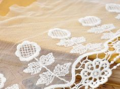 Lace Trim Lace Fabric White Gauze Embroidery Sunflower by whtstore