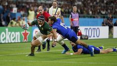 Electric winger Cheslin Kolbe scored a classy double as South Africa put one foot in the Rugby World . Modern Ghana, Rugby World Cup, Referee, Big Men, South Africa, Things That Bounce, Electric, Classy, Stars