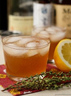 Bourbon Apple Autumn Cocktail...bourbon, applejack brandy, apple cider, lemon juice, thyme simple syrup (recipe included), dash of bitters