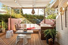 "The Great Outdoors  Designed by Molly Luetkemeyer  Outdoor spaces can provide nearly as much living space as the interior, and designer Molly Luetkemeyer makes the most of them. ""The decks are a little 70s-era-Acapulco-meets-Morocco in feeling,"" she says."