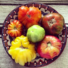 Heirloom tomatoes from our garden on Bulgarian pottery