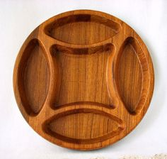 Vintage 1970's Dansk Teak 5 Divider Serving Tray by GSaleHunter