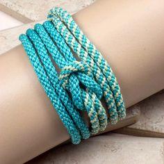 WRAP BRACELET/NECKLACE Kumihimo Necklace Bracelet Aqua Teal Magnetic Clasp Love Knot Bracelet - Gift for Her Handmade Bracelet Holiday