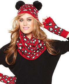 Betsey Johnson Animal Print Pom Pom Beanie & Fingerless Gloves