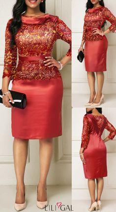 Red Three Quarter Sleeve Satin Sparkle Sheath Dress Source by idea classy African Attire, African Fashion Dresses, African Dress, Elegant Dresses, Sexy Dresses, Casual Dresses, Formal Dresses, I Dress, Sheath Dress