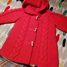 NEW Little Princess Coat For 2 to 3 Year Old by AuthenticKnit Knitted Baby Cardigan, Knit Baby Sweaters, Knitted Baby Clothes, Knitted Coat, Baby Knitting Patterns, Knitting For Kids, Baby Patterns, Crochet Dress Girl, Crochet Baby Hats