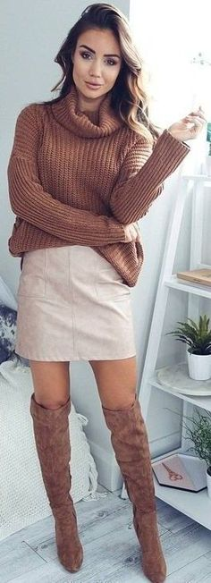trendy brown and nude outfit : sweater + skirt + over knee boots