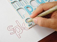 after punch out letters, use as outline for lettering of bookcovers.