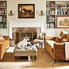 """A leather tufted ottoman and mohair on the sofas """"wear like iron""""   South Carolina designer Missi Ervin's renovation of a former horse stable"""