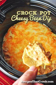 Crock Pot Cheesy Bean Dip-Ingredients 8 oz Cream Cheese- Softened 1 Cup Sour Cream or Greek Non-Fat Plain Yogurt 16 oz Can Refried Beans 2 Tbsp Taco Seasoning Mix 1 tsp Onion Powder 1 tsp Garlic Powder 8 oz Shredded Sharp Cheddar- Divided Tortilla Chips Crock Pot Dips, Crock Pot Cooking, Cooker Recipes, Crockpot Recipes, Dip Crockpot, Slow Cooker Dips, Quinoa, Bean Dip Recipes, Tapas