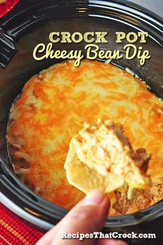 - CHEESY BEAN DIP RECIPE - Prep time: 10 min / Cook time: 4 hrs Instructions: 1) Blend all ingredients except shredded cheese. 2) Spoon half of cream cheese mixture into crock and layer with half the cheese. 3) Add remaining cream cheese mixture and top with remaining cheese.4) Heat on low for 4 hours and serve with tortilla chips.
