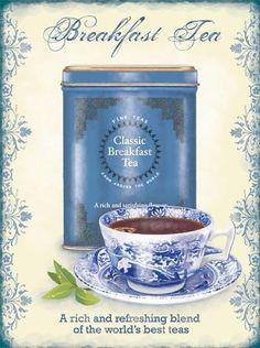 Breakfast Tea is my tea of choice, and Twining is my brand! Decoupage Vintage, Vintage Diy, Decoupage Paper, Vintage Labels, Etsy Vintage, Tee Kunst, Blue Cups, Breakfast Tea, Cuppa Tea