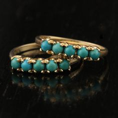 Vintage Stacking Turquoise Thin Rings in 10k by ArtifactVintage