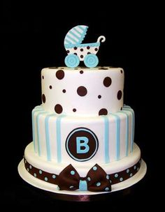 Brown and Blue Baby Shower Cake! Maybe we could have a simplified version of this