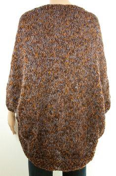 Cardigan SHRUG Boho chic Oversize Tricot à la main Laine Mohair Colorant  mélange multicolore marron gris fd9fe724e7d