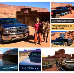 """VIA Motors """"Söl Trux"""" extended-range electric solar truck filming commercial in beautiful Moab, Utah. VIA shot a scene at Hauer Ranch, the same location as in the movie """"City Slickers"""" where Curly camps with Billy Crystal! #solarcar #solarvehicle #solar #solarpower #solartruck #soltrux #viamotors #moab #moabutah #cityslickers #redrocks"""