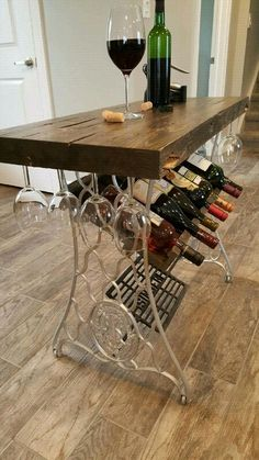 57 Ideas for kitchen rustic bar wine racks Repurposed Furniture Bar ideas kitchen racks Rustic Wine Sewing Machine Tables, Antique Sewing Machines, Sewing Table, Furniture Projects, Furniture Makeover, Diy Furniture, Barrel Furniture, Wine Rack Design, Rustic Kitchen Island
