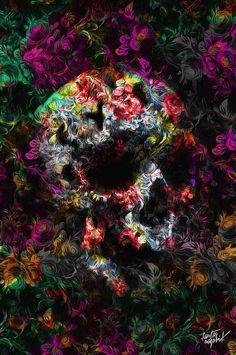 (SNB) Fantasmagorik® Flowerskull by Nicolas Obery Wallpaper Caveira, Art And Illustration, Cute Wallpapers, Wallpaper Backgrounds, Phone Wallpapers, Skull Pictures, Sugar Skull Art, Sugar Skulls, Skull Artwork