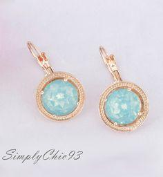 Round Mint green earringMint green opal by simplychic93 on Etsy