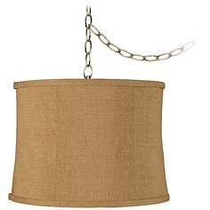 "Burlap Drum 15"" Wide Antique Brass Plug-In Swag Chandelier"
