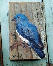 OIL PAINTING FOLK ART BLUEBIRD ON WOOD CHERYL KORB