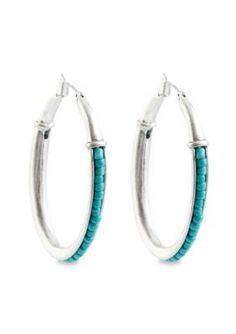 Lucky Brand Jewelry  Turquoise Beaded Hoop Earrings