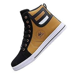 c0142b187 tazimall Mens Round Toe High Top Sneakers Casual Lace Up Skateboard Shoes  Newest Style Gold Size 11