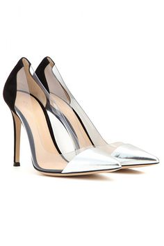AMAZING New Heels You've Gotta See #refinery29 http://www.refinery29.com/pretty-heels#slide-23 Pumps and Stilettos The PVC detail and silver cap toe update this silhouette.