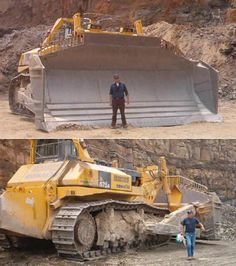 he bigger the dozer the more efficiently they work and the more aggregate they can shove. The World's biggest and most powerful (production) Bulldozer is the D575A-3SD built by Komatsu in Ishikawa, Japan. Standing 16 feet tall, 41 feet long and 24 feet wide the D575A-3SD is the king of power when it comes to shifting aggregate.