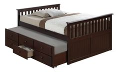 Broyhill Kids Marco Island Full Captains Bed with Trundle, Espresso Full-Sized Bed with Twin-Sized Trundle, Bunk Bed Alternative, Great for Sleepovers, Underbed Storage/Organization Full Bed With Trundle, Twin Trundle Bed, Kid Beds, Bunk Beds, Loft Beds, Twin Captains Bed, Broyhill Furniture, Lit Simple, Bed Dimensions