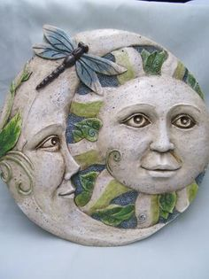 Sun Moon Celestial Garden Stone Dragonfly Accent Decor |