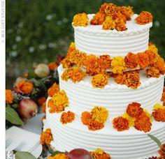 Orange Flower Wedding Cake - Marigolds and organic blood orange cake   Cake: Urth Caffe, Los Angeles and Santa Monica , CA