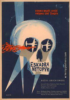 Czech film poster, 1959. ( Vintage Movie Poster / Cine / Cinema Poster / Graphic Design / Skull / Illustration / Airplane )