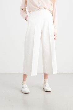 Wide Cotton Trouser, Ivory